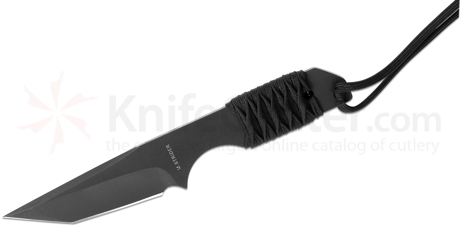 Strider Knives Hand Ground DBL MOD-T Fixed 4 inch Black DLC Tanto Blade, Black Cord Wrapped Handle, Kydex Sheath