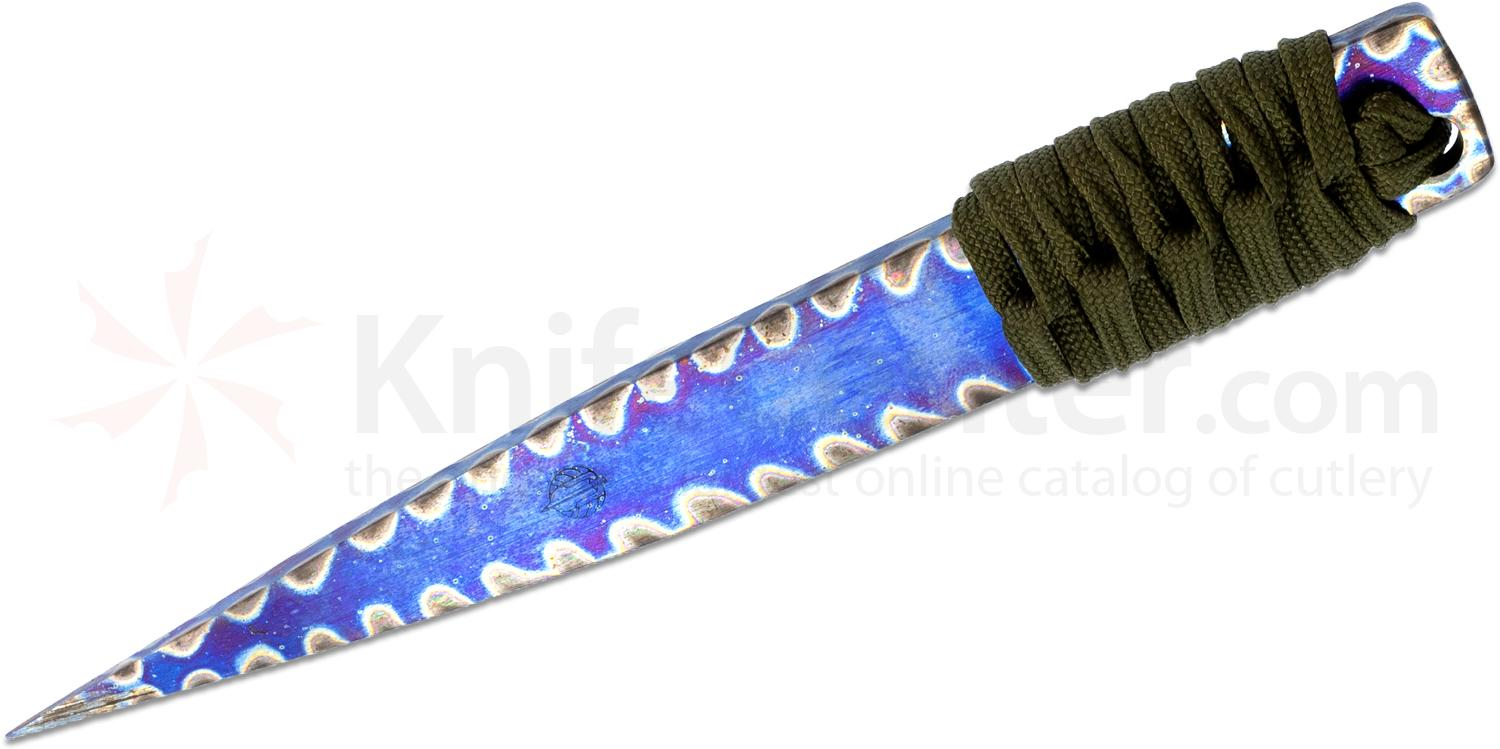 Strider Knives LM Nail Fixed Flamed Titanium Blade, 5.5 inch Overall, Green Cord Wrapped Handle, Kydex Sheath