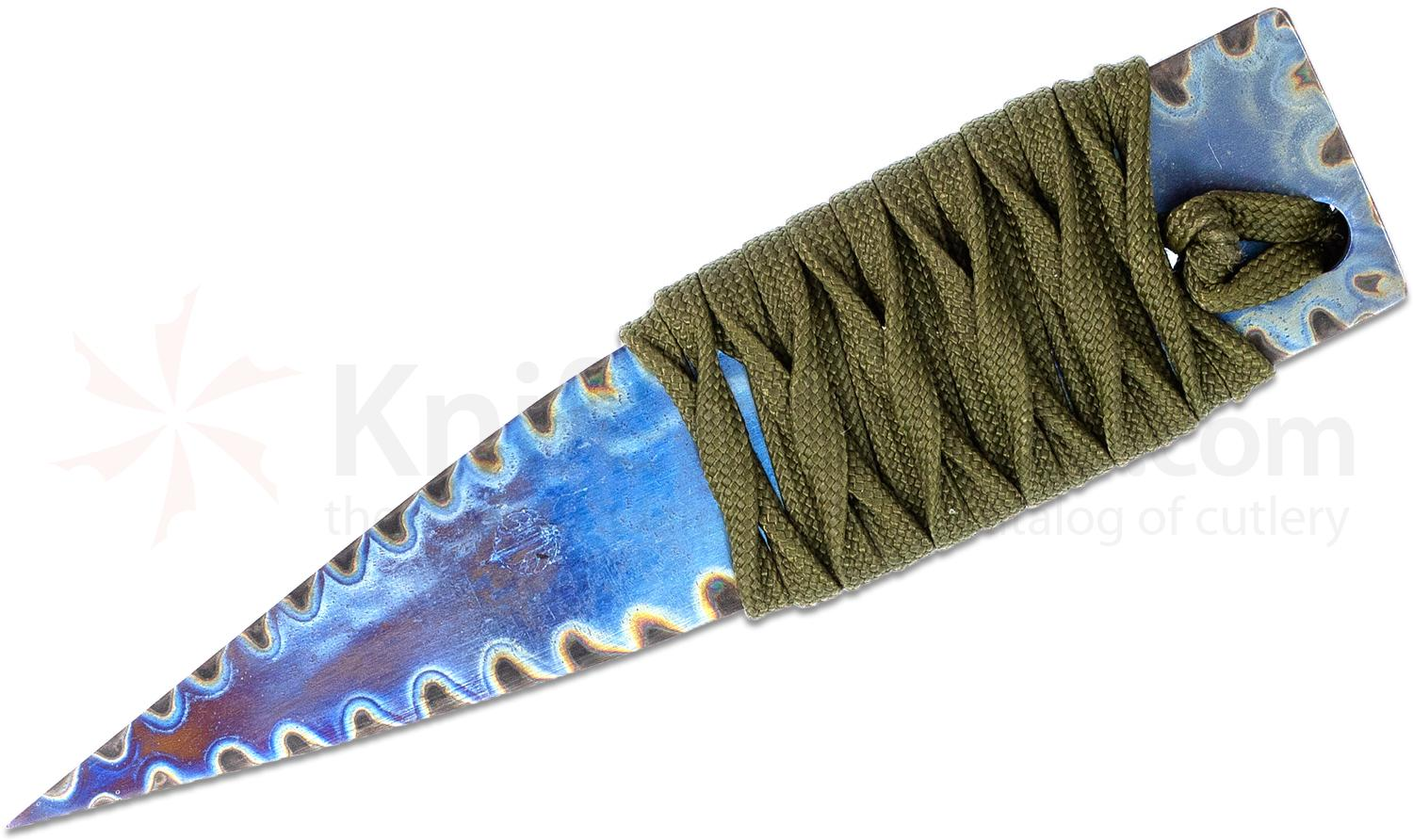 Strider Knives LM Nail Fixed Flamed Titanium Blade, 4.5 inch Overall, Green Cord Wrapped Handle, Kydex Sheath