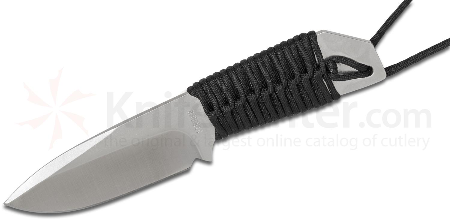 Strider Knives Hand Ground MFS Fixed 4.25 inch PD1 Drop Point Blade, Black Cord Wrapped Handle, Kydex Sheath