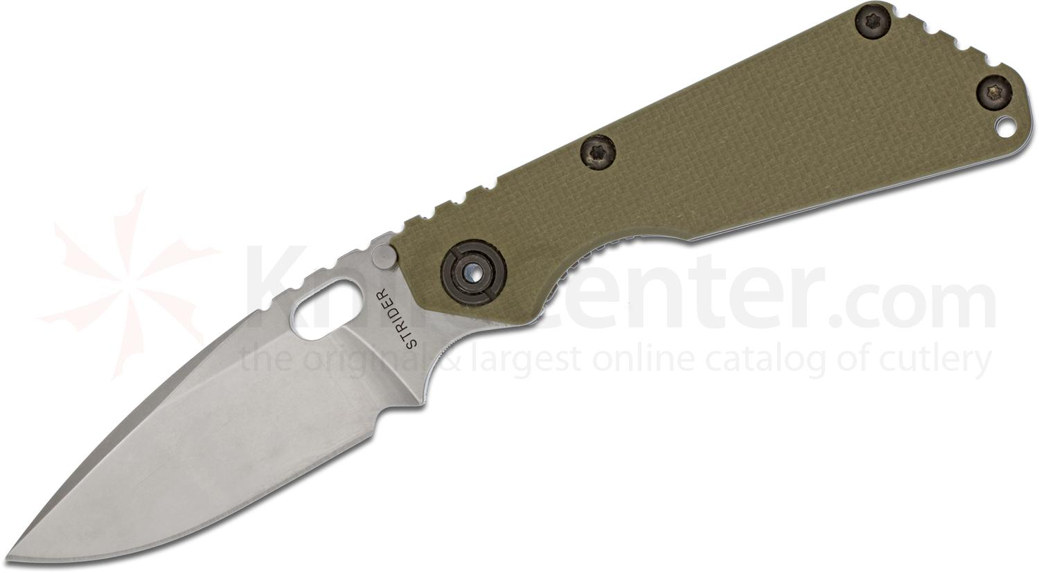 Strider Knives SnG Folding Knife 3.5 inch Stonewashed CTS-40CP Dagger Ground Blade, OD Green G10/Stonewashed Titanium Handles