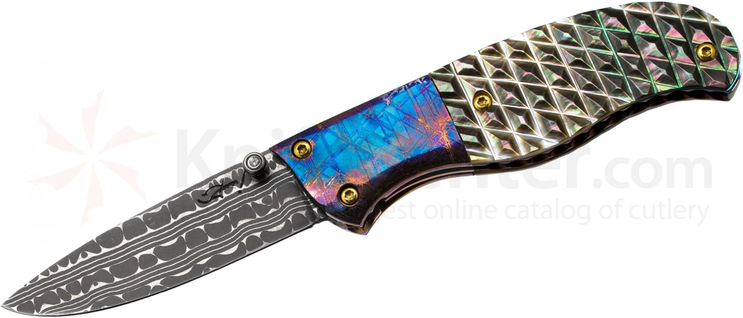 Suchat Custom Knives Liner Lock Folder 2.375 inch Chad Nichols Damascus Blade, Carved Black Pearl Handles with Blued Meteorite Bolsters