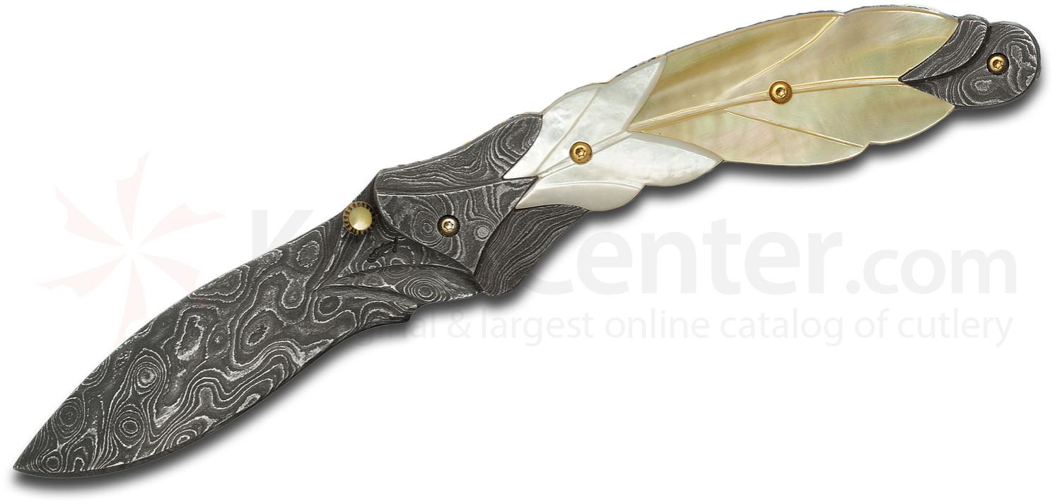 Suchat Custom Knives Feather Folding Knife 2 875 Quot Damascus