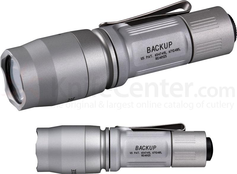 SureFire E1B Backup Ultra Compact Dual Output LED Flashlight, Silver, 110 Max Lumens
