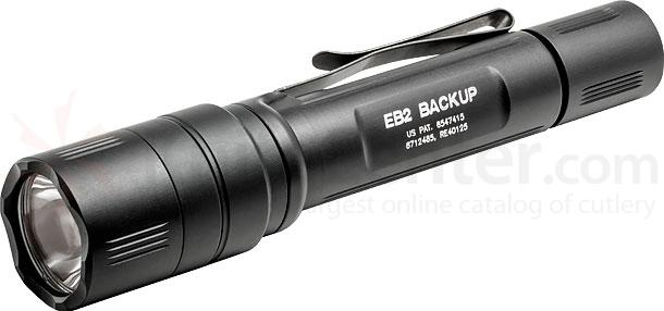 SureFire EB2T-A-BK Backup Ultra-High Dual-Output LED Flashlight, Tactical Switch, Black, 500 Max Lumens
