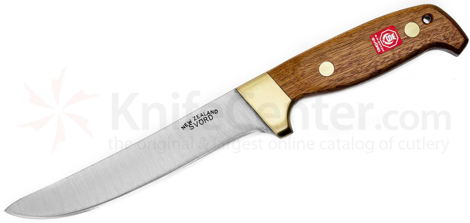 Svord 870BB General Purpose Fixed 6-1/4 inch Carbon Steel Blade, Brown Hardwood Handles, Leather Sheath