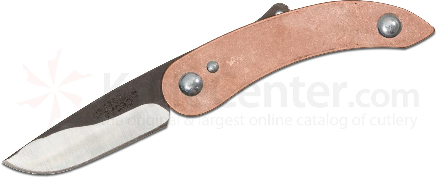 Svord Peasant Folding Knife 3 inch Carbon Steel Blade, Rustic Copper Handles, KnifeCenter Exclusive