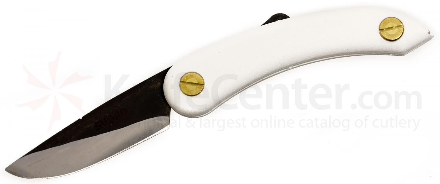 Svord PKM Peasant Mini Folding Knife 2.5 inch Carbon Steel Blade, White Zytel Handles