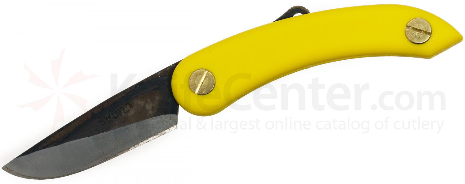 Svord PKM Peasant Mini Folding Knife 2.5 inch Carbon Steel Blade, Yellow Zytel Handles