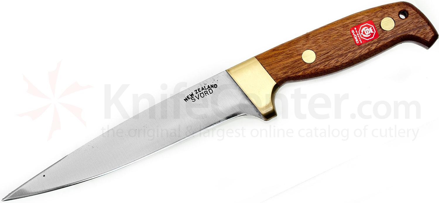 Svord Pig Sticker Fixed 6-1/2 inch Carbon Steel Blade, Brown Hardwood Handles, Leather Sheath