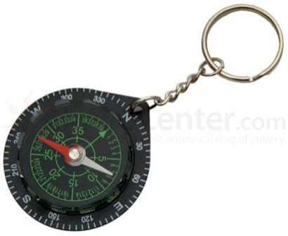 Liquid Keychain Black Analog Compass
