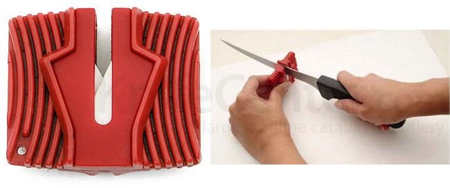 Grooved Ceramic Knife Sharpener, Red