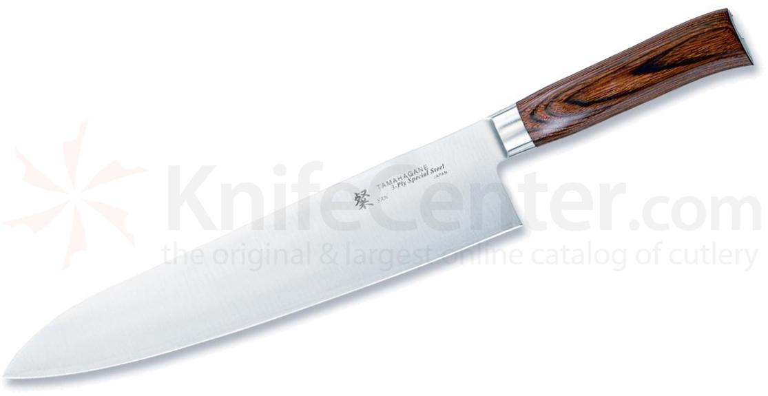 Tamahagane Knives San Series 11 inch Chef's Knife, Wood Handles