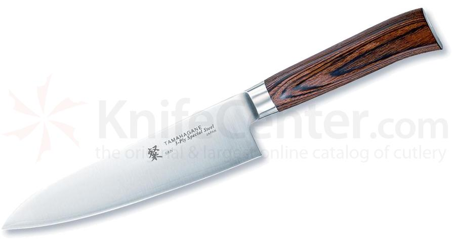 Tamahagane Knives San Series 7 inch Chef's Knife, Wood Handles