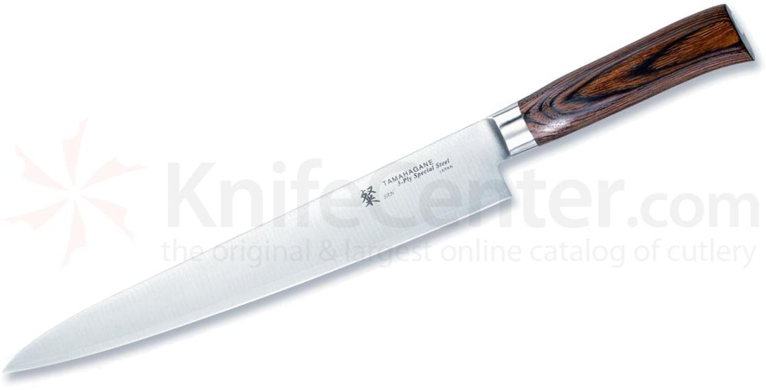 Tamahagane Knives San Series 11 inch Slicing Knife, Wood Handles