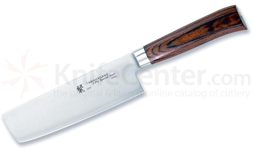 Tamahagane Knives San Series 6 inch Vegetable Knife, Wood Handles