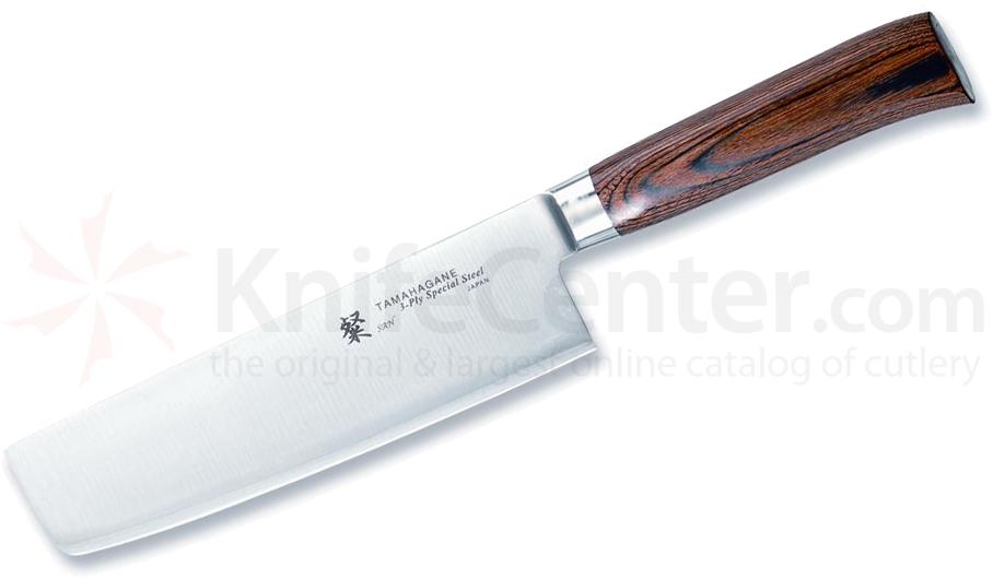 Tamahagane Knives San Series 7 inch Vegetable Knife, Wood Handles