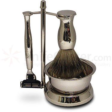 Taylor of Old Bond Street Pure Badger Mach3 Nickel Finish Shave Set with Bowl in Gift Box