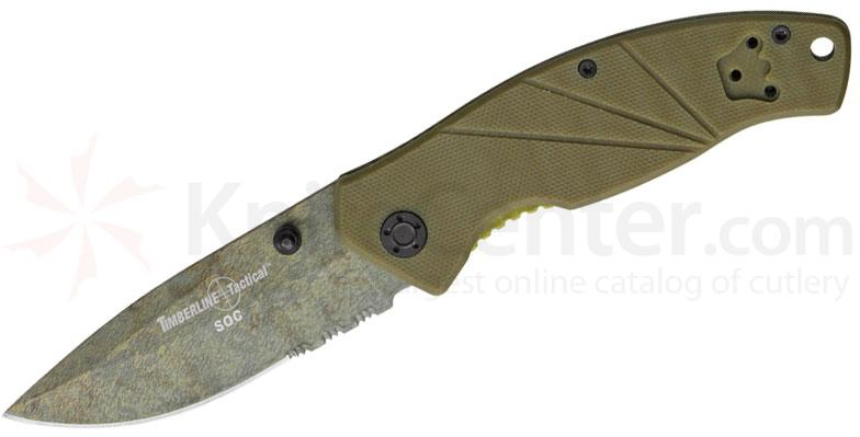 Timberline Tactical SOC Folding Knife 3-1/4 inch Combo Blade, Coyote Tan G10 Handles