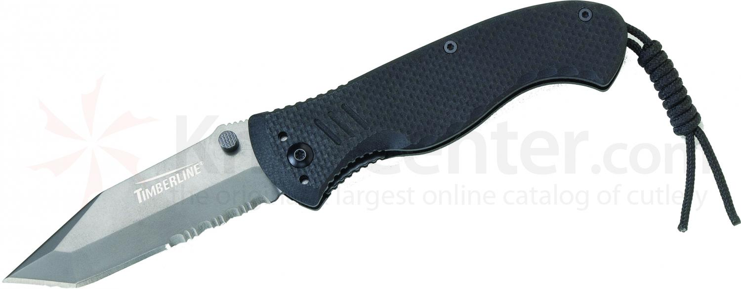Timberline Vallotton Battle Hog Assisted Tactical Folder, Tanto Combo Blade, Black G10 Handles