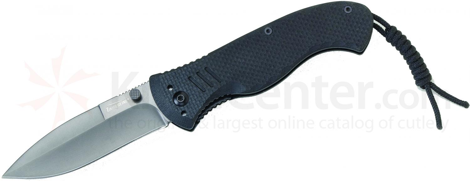 Timberline Vallotton Battle Hog Assisted Tactical Folder, Plain Spear Point Blade, Black G10 Handles