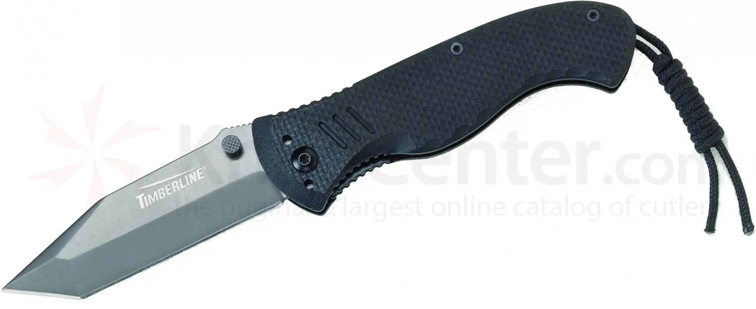 Timberline Vallotton Battle Hog Assisted Tactical Folder, Plain Tanto Blade, Black G10 Handles