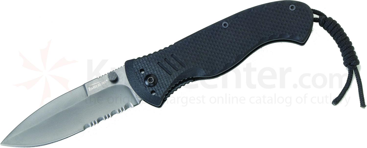 Timberline Vallotton Battle Hog Assisted Tactical Folder, Spear Point Combo Blade, Black G10 Handles