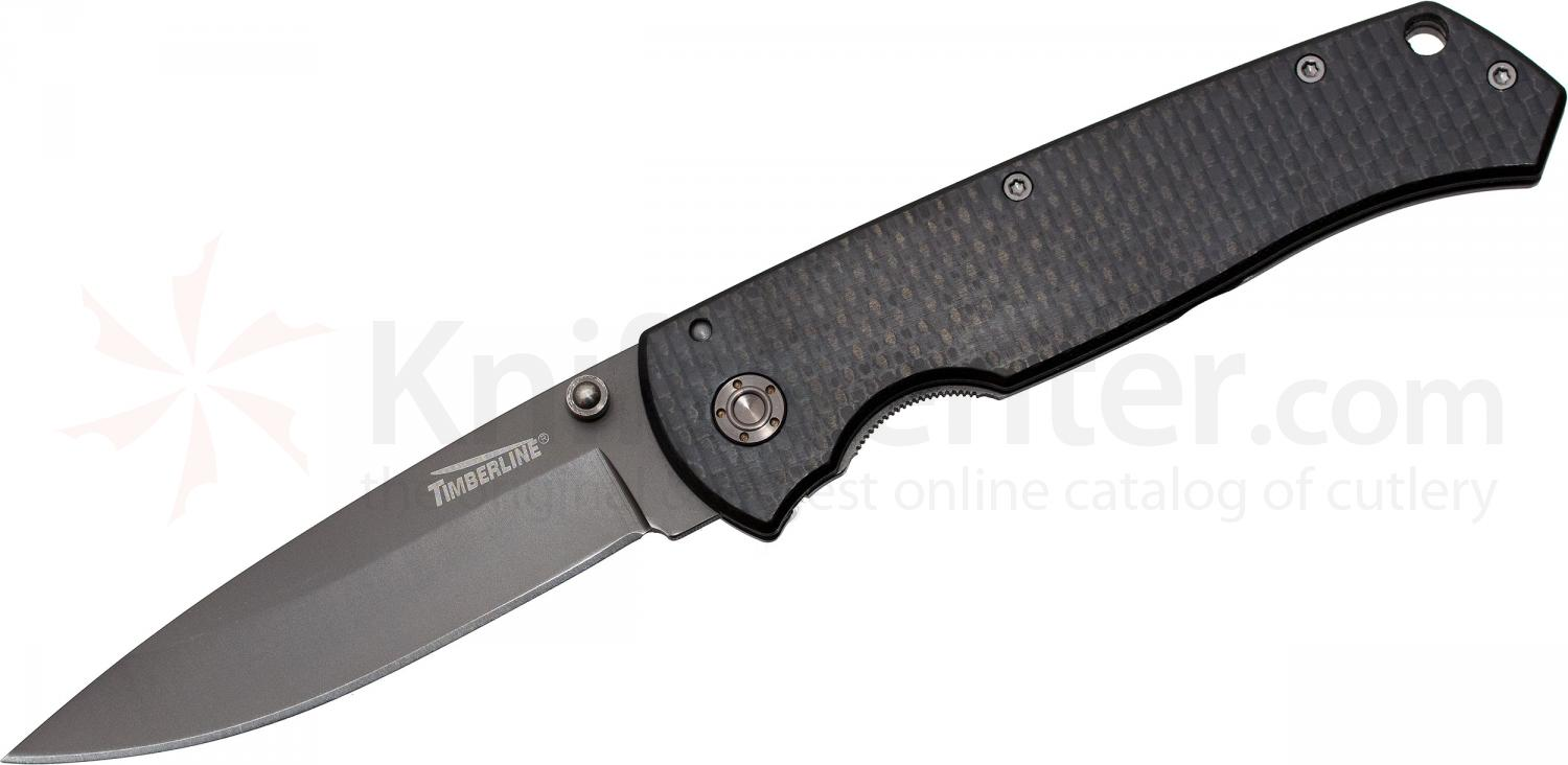 Timberline Vallotton Kickstart Folding Knife Assisted 3.5 inch Blade, Carbon Fiber and Titanium Handles (1243)