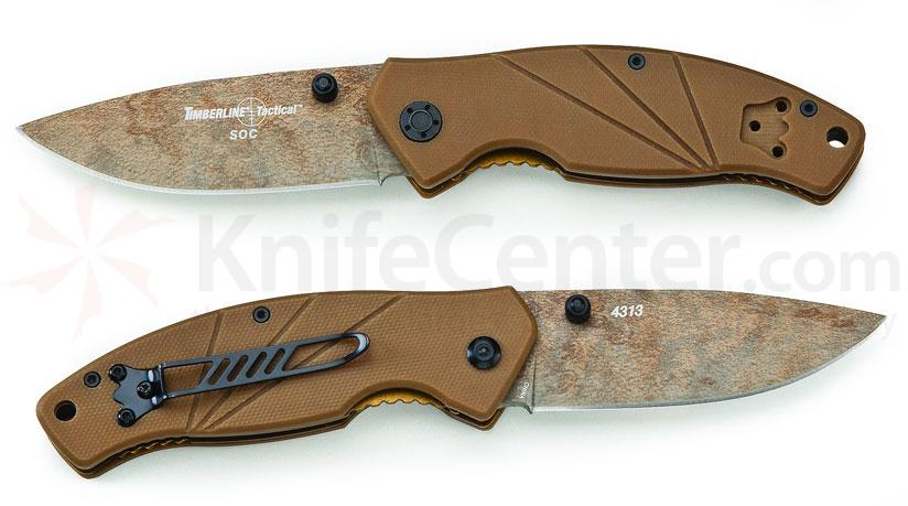 Timberline Tactical SOC Folding Knife 3-1/4 inch Plain Blade, Coyote Tan G10 Handles