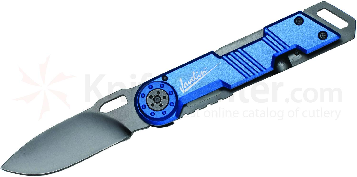 Javelin Frame Lock Work Knife, Blue Aluminum Handles (6614)