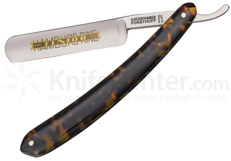 Timor Hamburg Ring Straight Razor, 5/8 inch Carbon Steel Blade, Brown and Beige Imitation Tortoise Handles