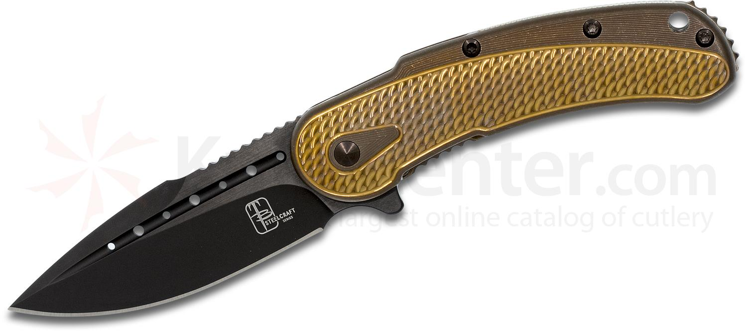 Todd Begg Steelcraft Series Mini Bodega Flipper 3 inch S35VN Black PVD Blade, Bronze Anodized Scalloped Pattern Titanium Handles