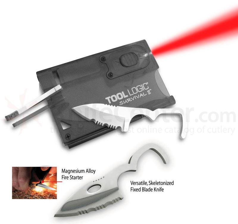 Tool Logic Survival II Charcoal Ultra Slim Card Tool with Red LED Flashlight