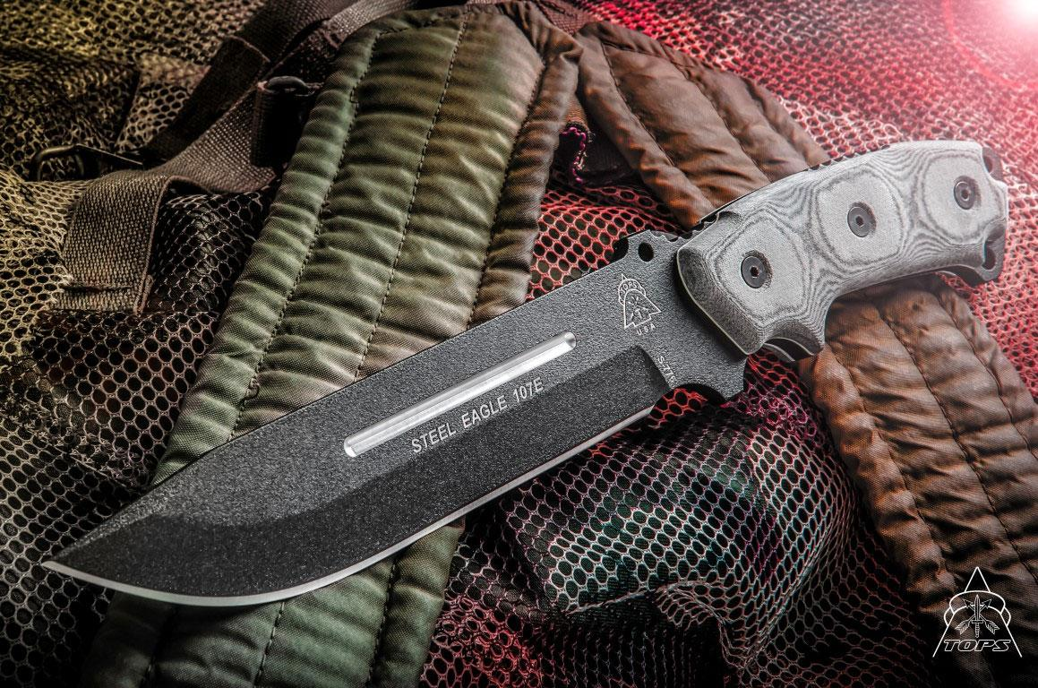 Tops Knives Steel Eagle 107e Fixed 7 Quot 1095 Carbon Drop