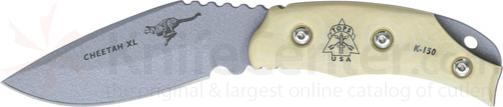 TOPS Knives 3-1/4 inch Cheetah XL with White Micarta Handles, Kydex Sheath