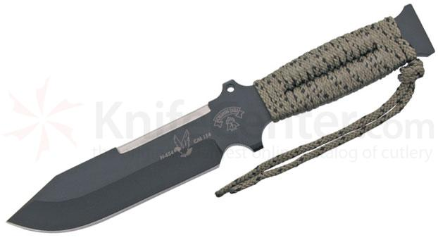 TOPS Knives Screaming Eagle Fixed 5-5/8 inch 5160 Carbon Drop Point Blade, OD Green Paracord Handles, Nylon Sheath