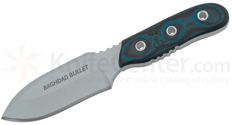 TOPS Knives Baghdad Bullet Fixed 3-1/2 inch 1095 Carbon Blade, Blue and Black G10 Handles