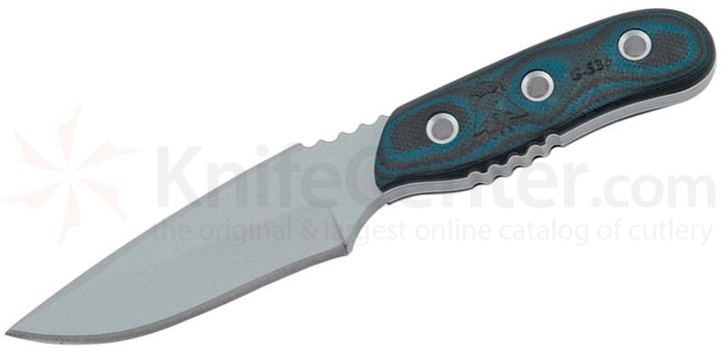 TOPS Knives Blue Otter Fixed 3-1/2 inch 1095 Carbon Blade, Blue and Black G10 Handles (BLUOT-01)