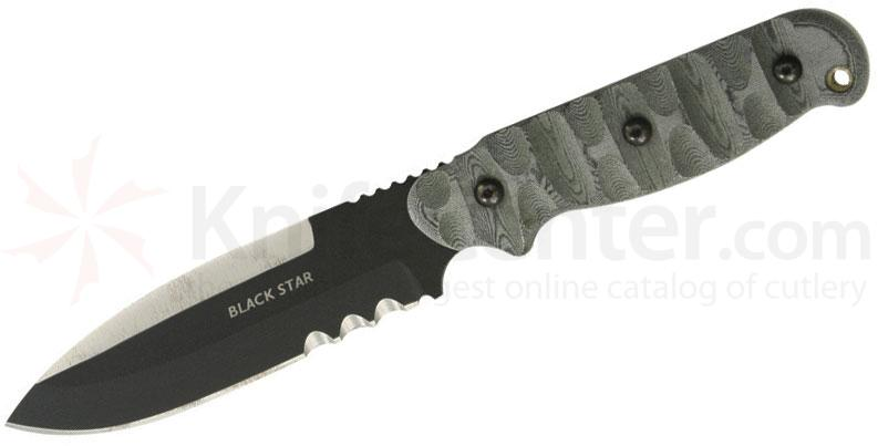 TOPS Knives Black Star Evolution Fixed 5-1/2 inch 1095 Carbon Combo Blade, Rocky Mountain Micarta Handles