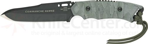 TOPS Knives 4-3/4 inch Commanche Hawke II with Black Micarta Handles