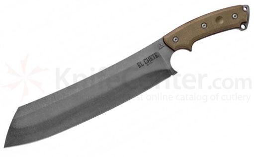 TOPS Knives El Chete ELCH Fixed 12 inch 1095 Carbon Steel Blade, Micarta Handle, Kydex Sheath