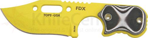 TOPS Knives FDX Field Duty Extreme 3 inch Code Yellow Hunter Point Blade with Black and White G-10 Handles