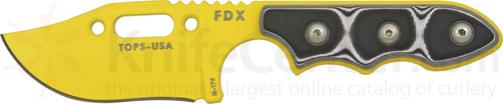 TOPS Knives FDX Field Duty Extreme XL 3 inch Code Yellow Hunter Point Blade with Black and White G-10 Handles