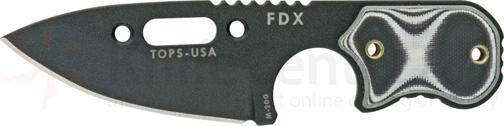 TOPS Knives FDX Field Duty Extreme 3 inch Spear Point Blade with Black and White G-10 Handles