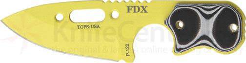 TOPS Knives FDX Field Duty Extreme 3 inch Code Yellow Spear Point Blade with Black and White G-10 Handles