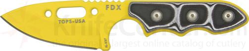 TOPS Knives FDX Field Duty Extreme XL 3 inch Code Yellow Spear Point Blade with Black and White G-10 Handles