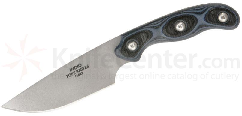 TOPS Knives Indio Fixed 3-1/2 inch 154CM Blade, Blue/Black G10 Handles, Leather Sheath