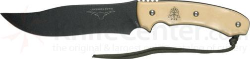 TOPS Knives 6-3/4 inch Longhorn Bowie with White Micarta Handles