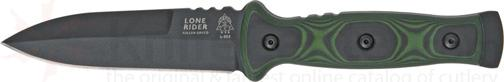 TOPS Knives 4-3/4 inch Lone Rider with Black and Green G-10 Handles