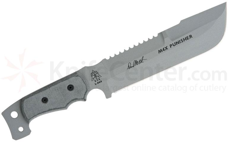 TOPS Knives MX4 Punisher Fixed  8-1/2 inch 1095 Carbon Sawback Blade, Micarta Handles, Nylon Sheath